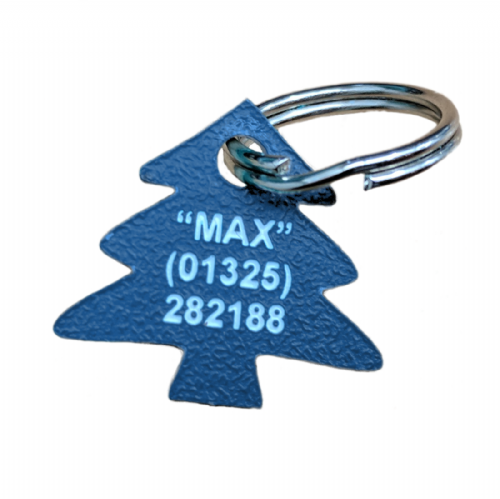 CHRISTMAS TREE Acrylic Shaped Dog  ID Tags - engraved on back